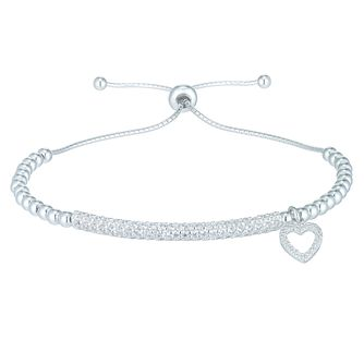 Sterling Silver Cubic Zirconia Set ID Adjustable Bracelet - Product number 6083897