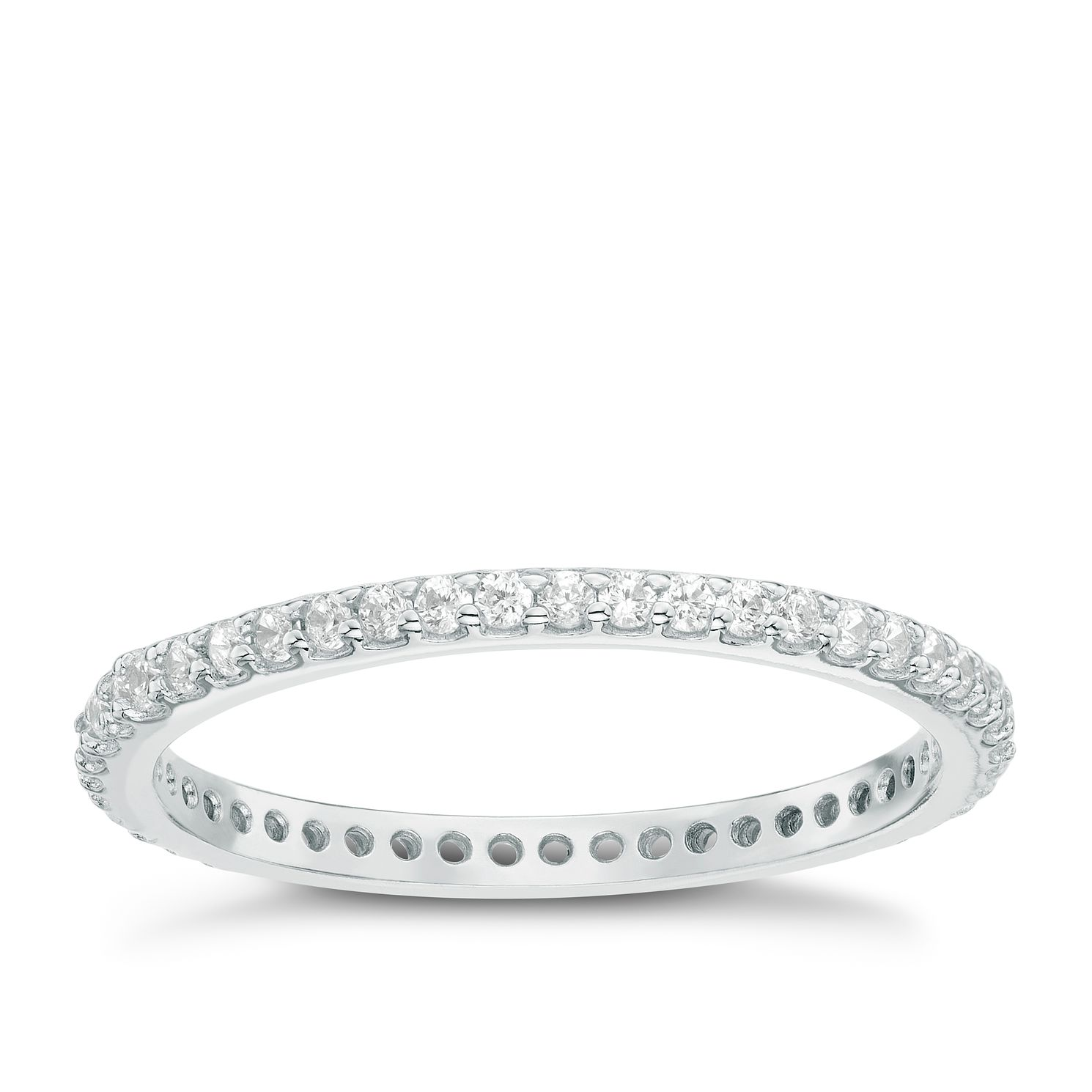 Sterling Silver Cubic Zirconia Set Full Eternity Ring Size L - Product number 6084036