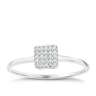 Sterling Silver Cubic Zirconia Pave Square Ring Size L - Product number 6084273