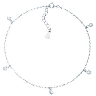 Sterling Silver Cubic Zirconia Set Anklet - Product number 6084915