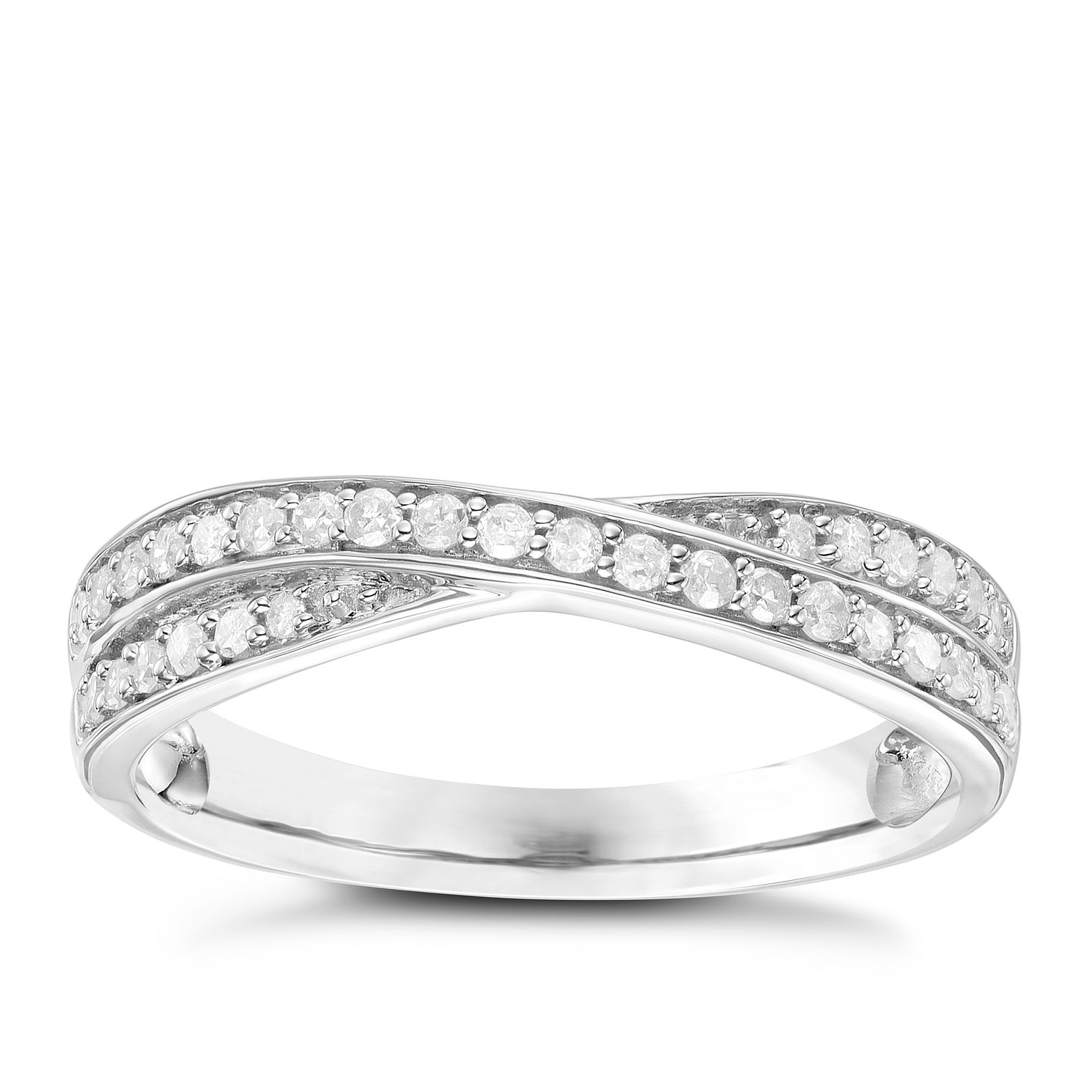 9ct White Gold 0.20ct Diamond Set Crossover Band - Product number 6085733