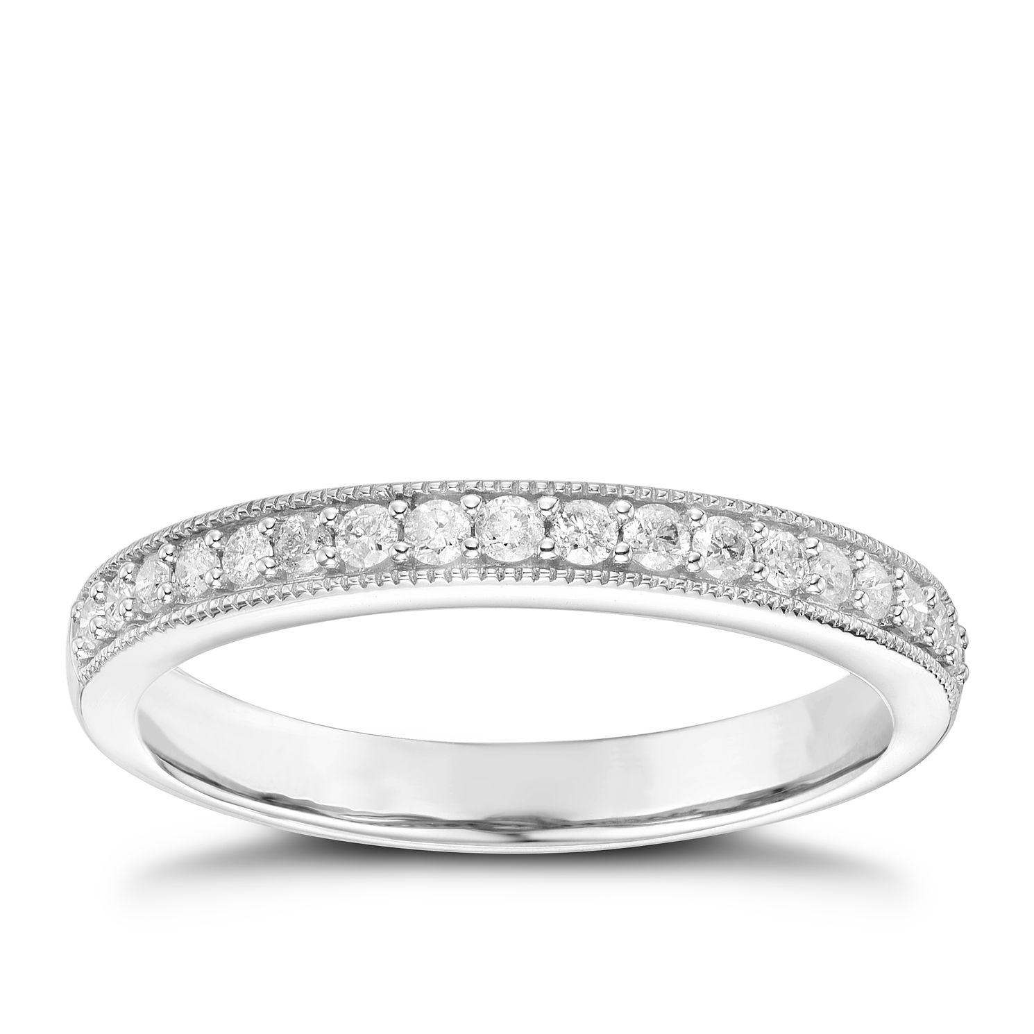9ct White Gold 0.20ct Diamond Set Milgrain Detail Band - Product number 6087108