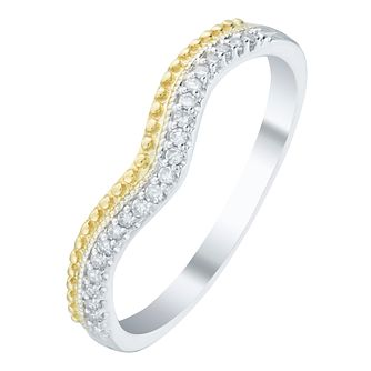 9ct Gold 2 Colour Diamond Set Shaped Band - Product number 6087221