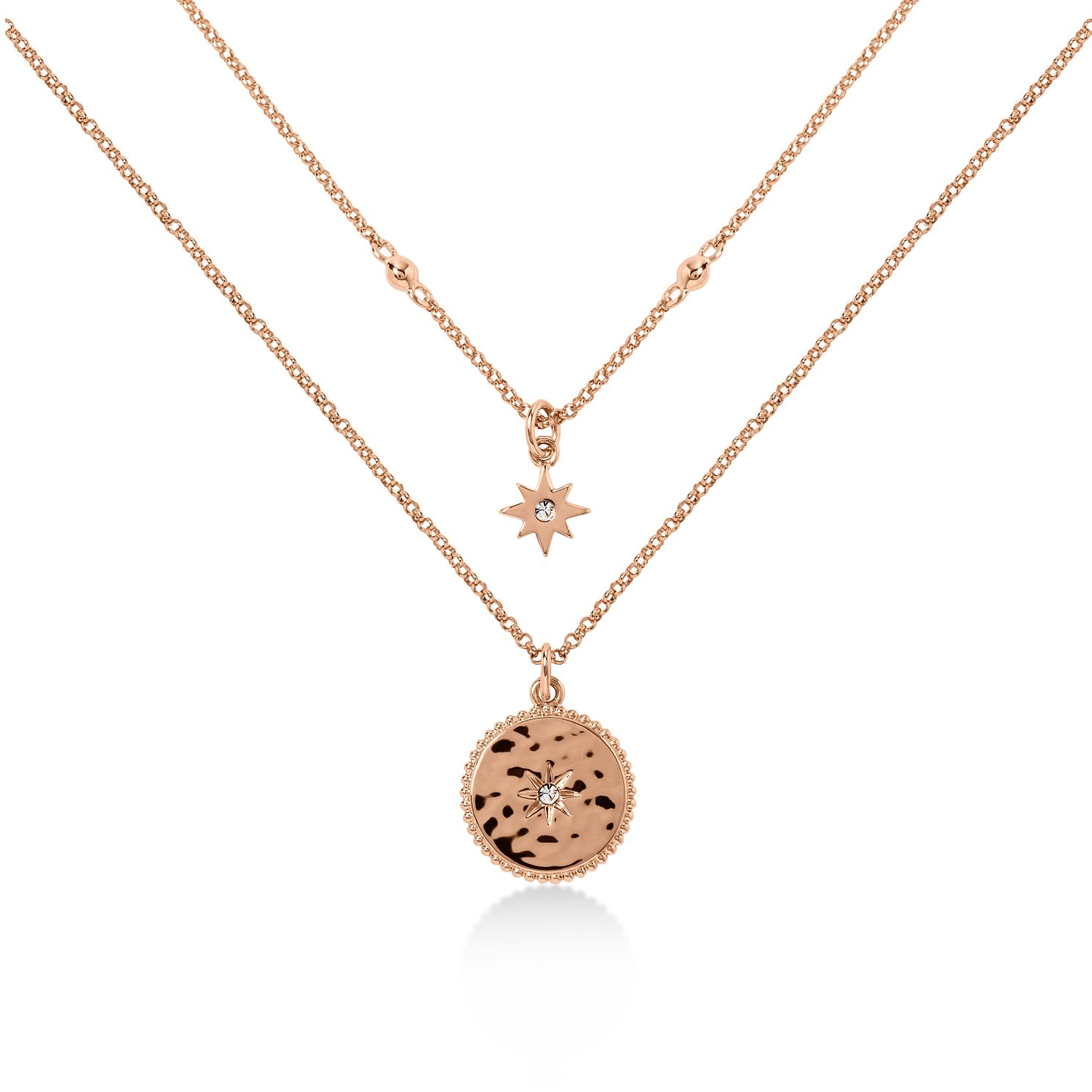 Radley Rose Gold Tone Double Star Disc Necklace - Product number 6088589