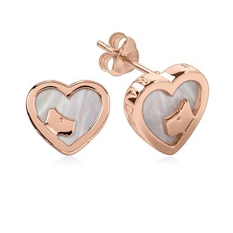 Radley 18ct Rose Gold Tone Mother-Of-Pearl Heart Earrings - Product number 6088716