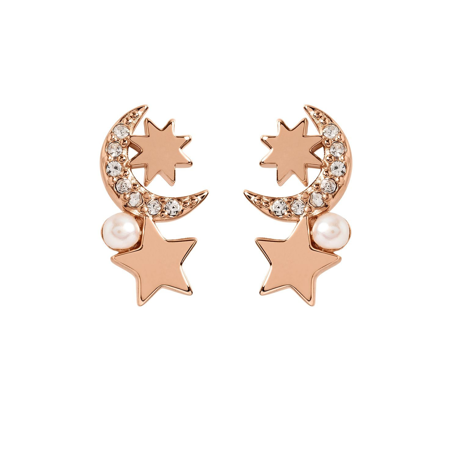 Radley 18ct Rose Gold Tone Crystal Moon & Star Stud Earrings - Product number 6088732
