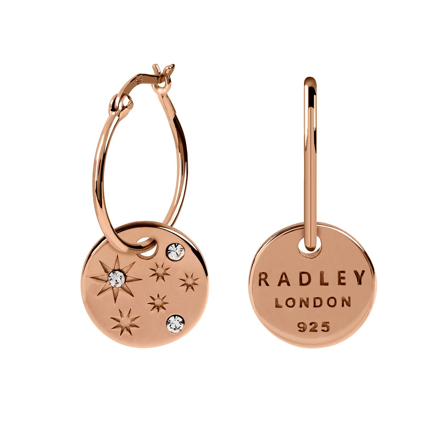 Radley Rose Gold Tone Star Disc Hoop Earrings - Product number 6088740