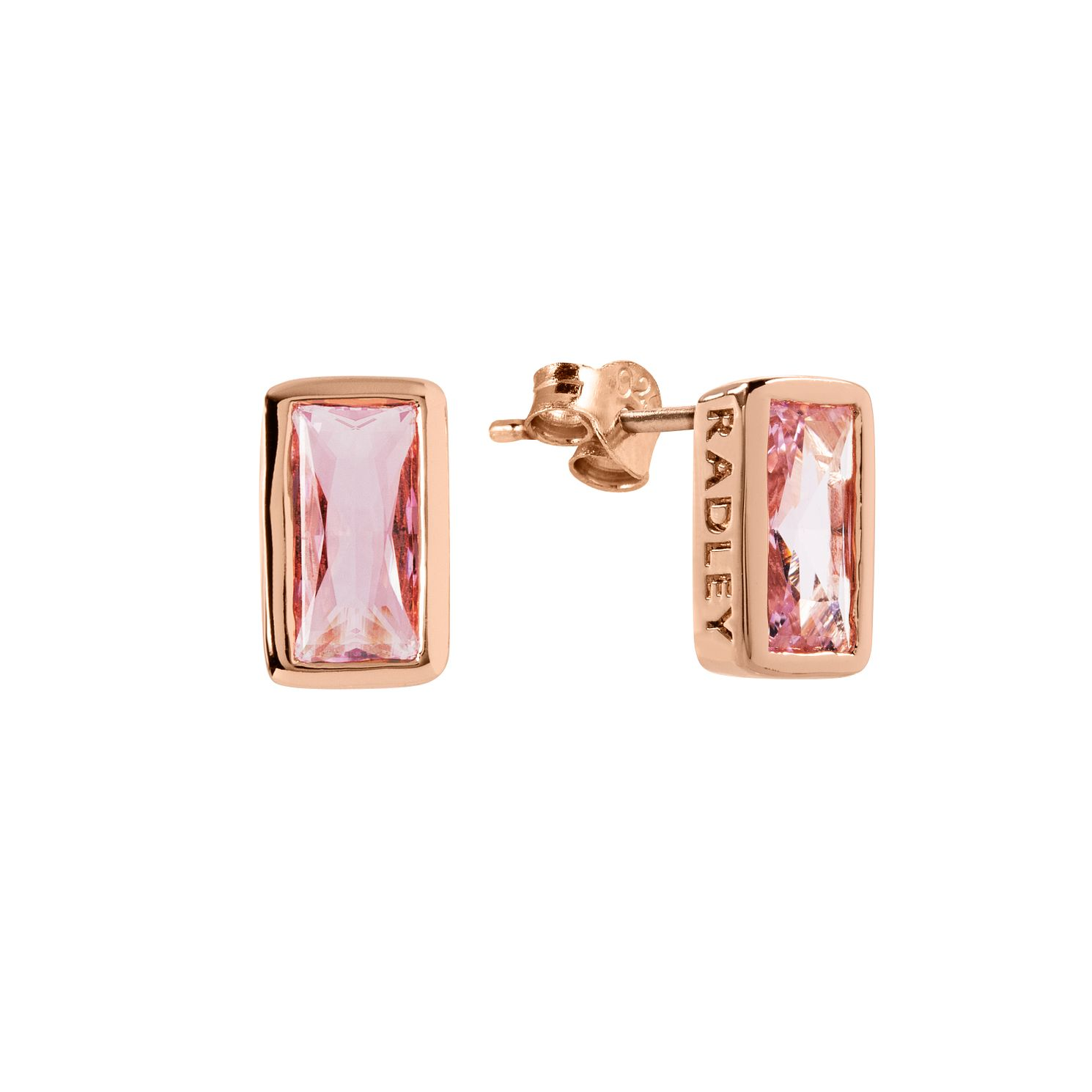 Radley 18ct Rose Gold Tone Purple Baguette Crystal Earrings - Product number 6088759