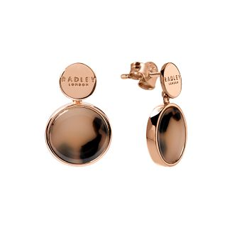 Radley 18ct Rose Gold Tone Tortoise-Shell Disc Drop Earrings - Product number 6088856