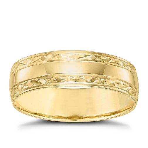 Men's 9ct Gold Patterned Edge Band - Product number 6089941