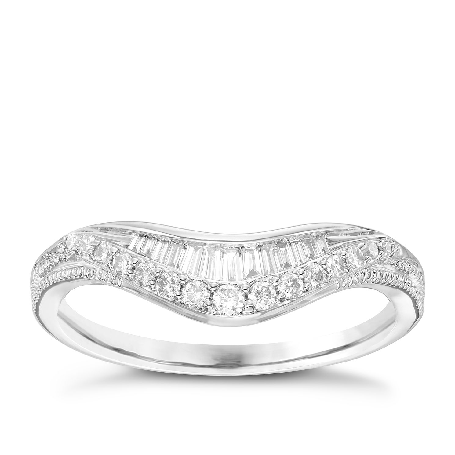 18ct White Gold 0.22 Carat Diamond Set Shaped Band - Product number 6090508