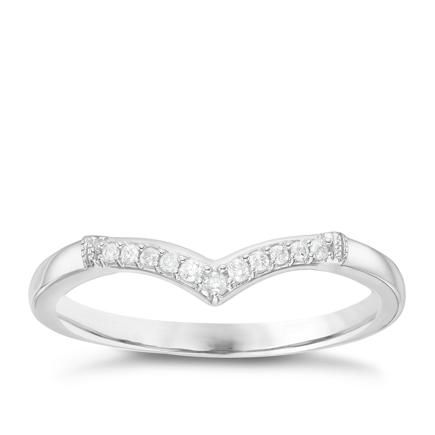 18ct White Gold Diamond Set Wishbone Shaped Band - Product number 6091113