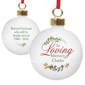 Personalised In Loving Memory Wreath Bauble Ornament - Product number 6094902