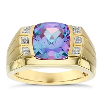9ct Yellow Gold Created Alexandrite & Diamond Ring - Product number 6095003