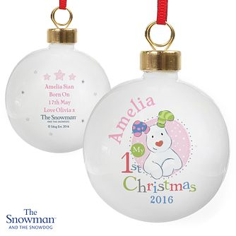 The Snowman and the Snowdog My 1st Christmas Pink Bauble - Product number 6095372