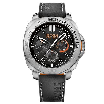 Boss Orange Men's Chronograph Black Leather Strap Watch - Product number 6095526