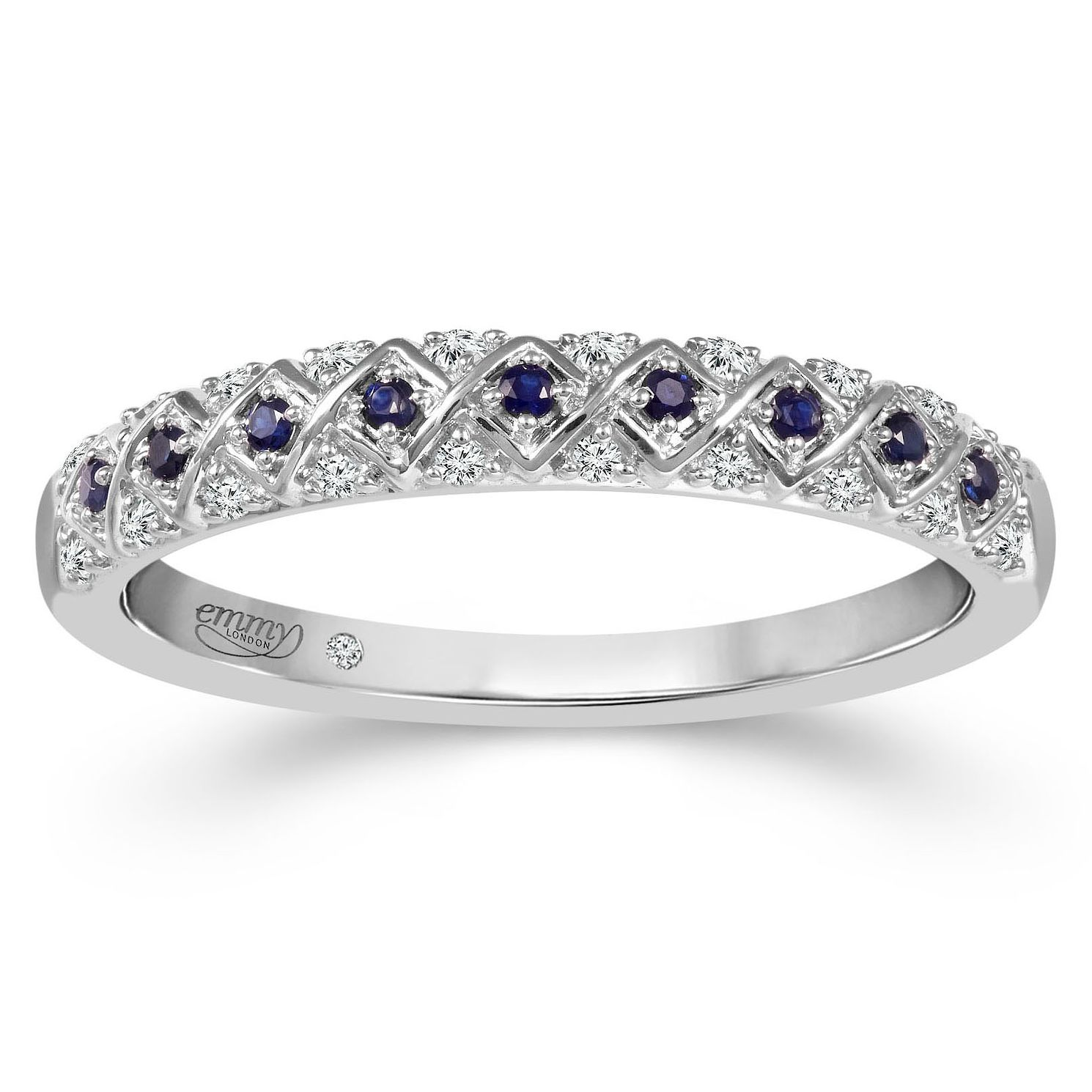 Emmy London Platinum Sapphire & Diamond Eternity Ring - Product number 6099912