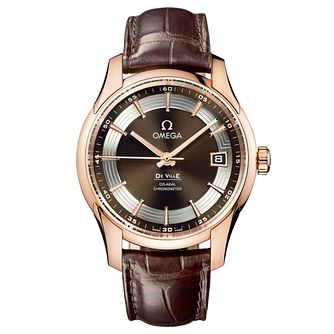 Omega De Ville Hour Vision men's 18ct rose gold strap watch - Product number 6100651
