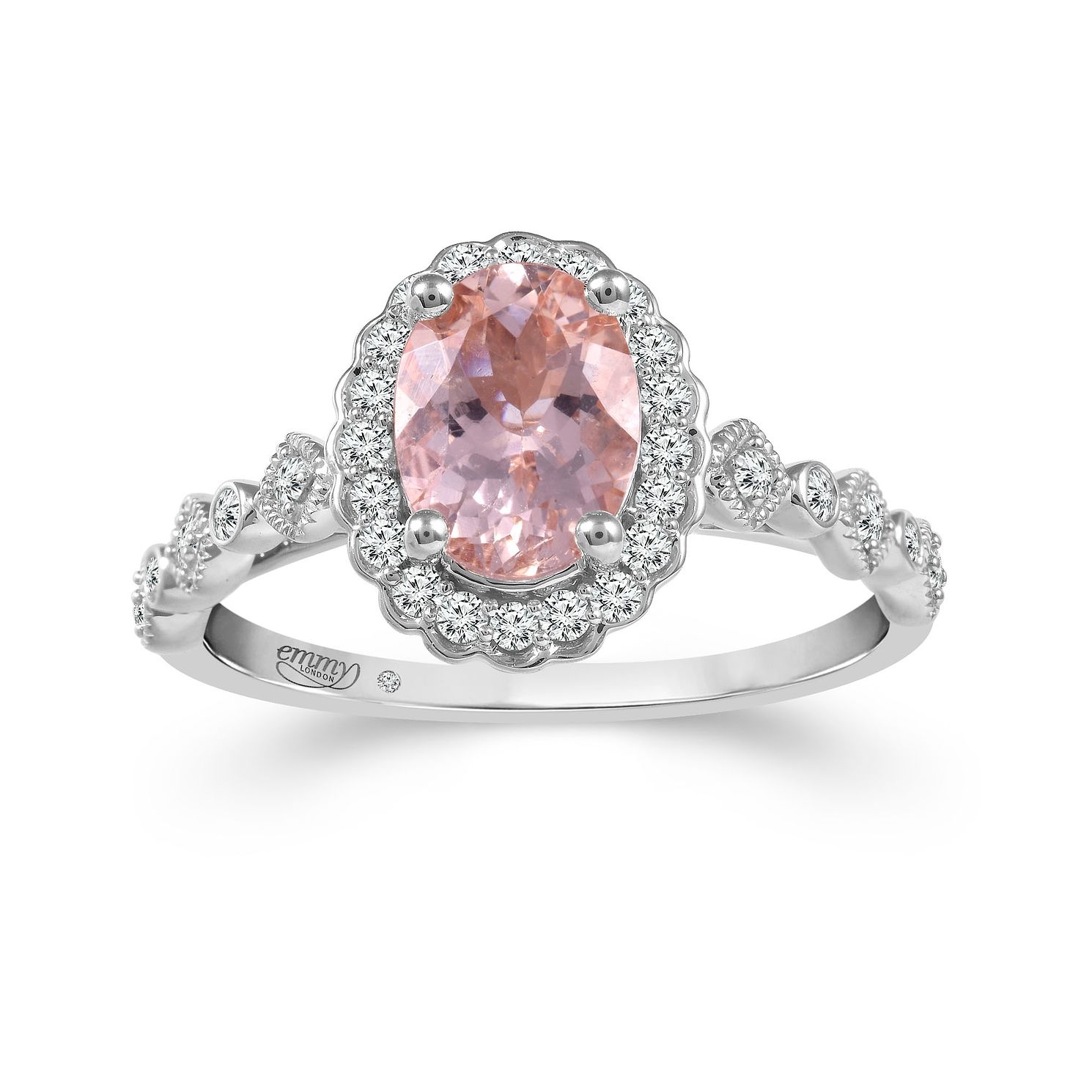 Emmy London Platinum Morganite 1/5ct Diamond Ring - Product number 6103847