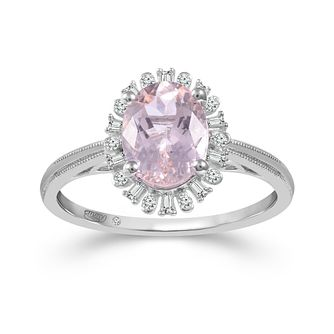 Emmy London Platinum Morganite & 0.12ct Diamond Ring - Product number 6104266