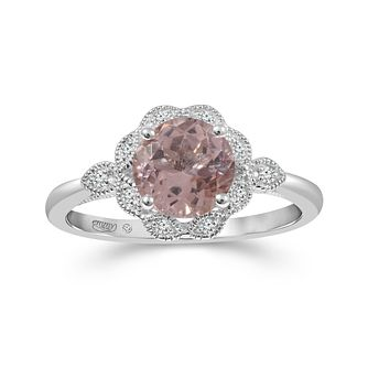 Emmy London Platinum Gold Morganite 0.05ct Diamond Ring - Product number 6104738