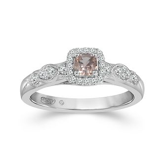 Emmy London Platinum Morganite 0.13ct Diamond Ring - Product number 6104894