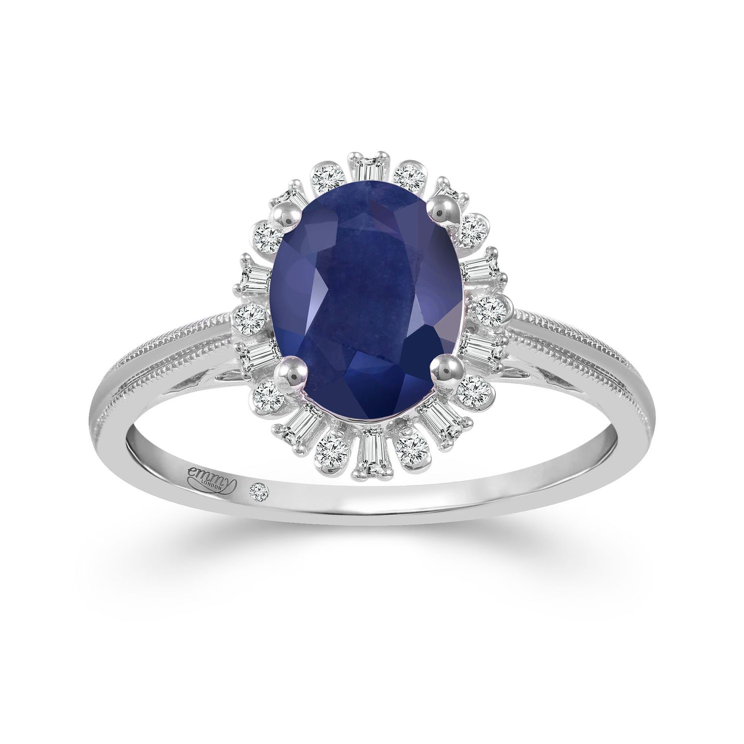 Emmy London Platinum Sapphire & 0.12ct Diamond Ring - Product number 6105408
