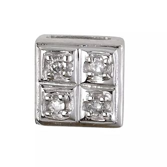 Men's 9ct White Gold Square Diamond Stud - Product number 6105831