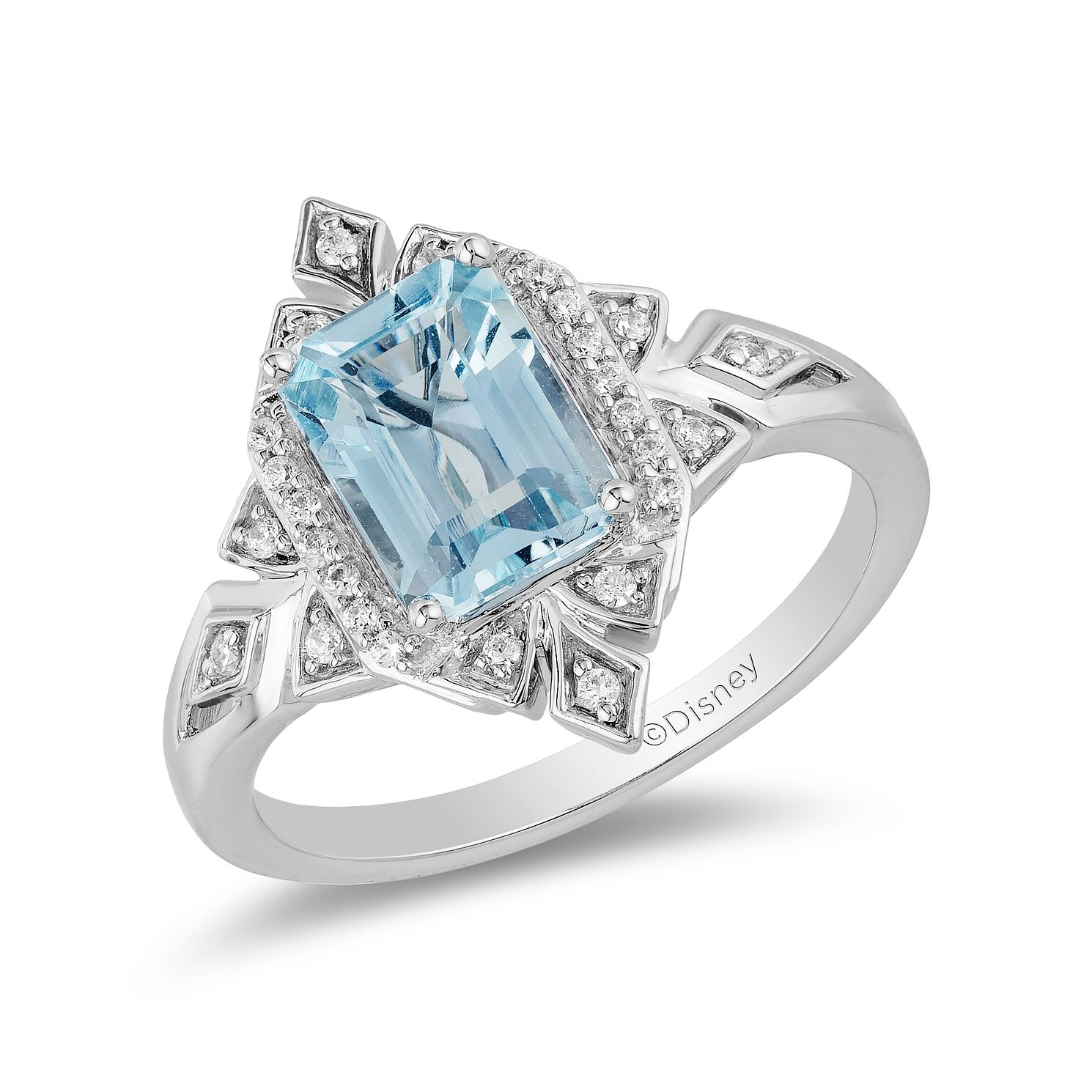 Enchanted Disney Fine Jewelry Blue Topaz & Diamond Elsa Ring - Product number 6110665