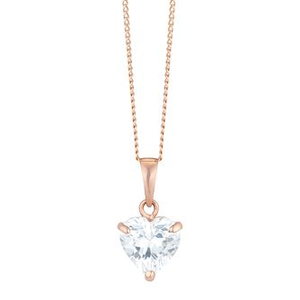 9ct Rose Gold Cubic Zirconia Heart Pendant - Product number 6114482