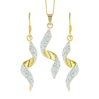 Evoke Gold-Plated Crystal Twist Drop Earrings & Pendant - Product number 6114628