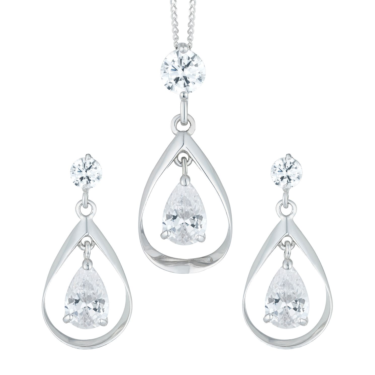 9ct White Gold Cubic Zirconia Double Drop Earrings & Pendant - Product number 6114660