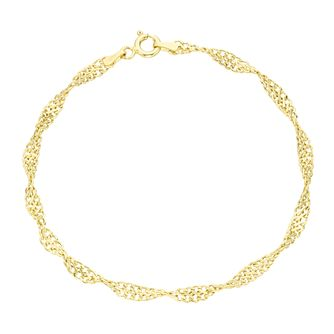 9ct Gold Twisted Double Curb Bracelet - Product number 6114717