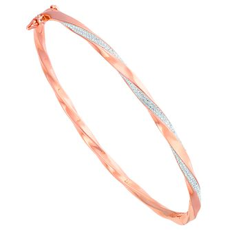 Evoke Rose Gold-Plated Crystal Set Twisted Bangle - Product number 6114857