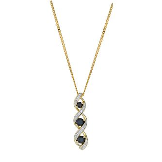 9ct Yellow Gold, Sapphire and Diamond Pendant Necklace - Product number 6115454