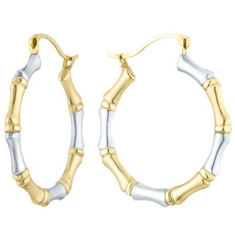 9ct Gold 2 Colour Bamboo Style Creole Earrings - Product number 6116108