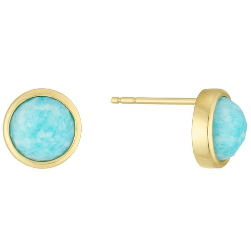 9ct Gold Amazonite Circle Stud Earrings - Product number 6116132