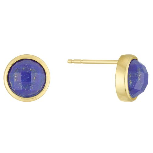 9ct Gold Blue Lapis Circle Stud Earrings - Product number 6116140