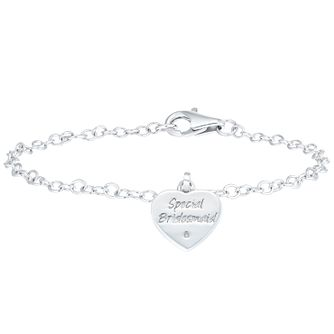 Children's Silver Diamond Heart Special Bridesmaid Bracelet - Product number 6116442