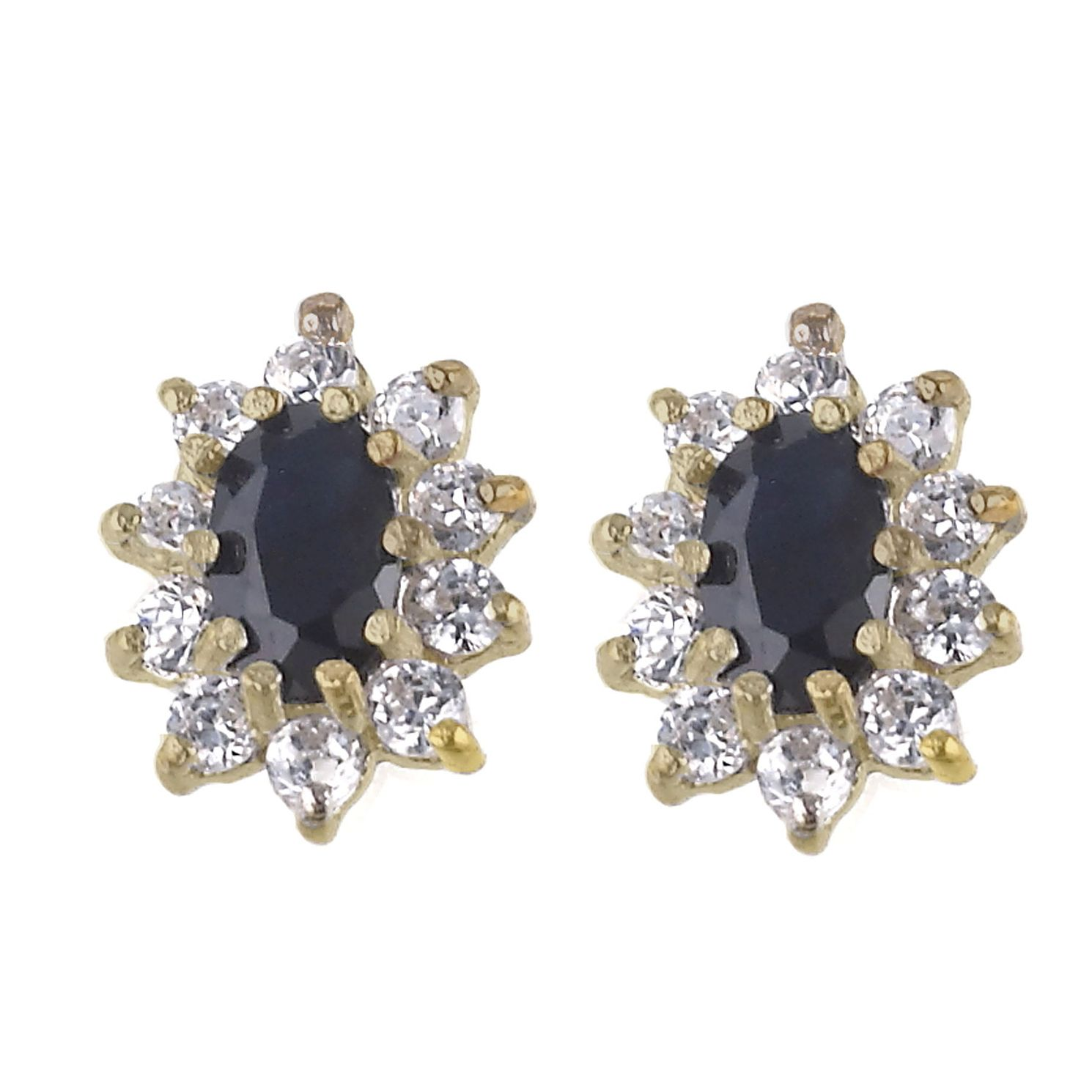 9ct Gold Sapphire Cubic Zirconia Stud Earrings - Product number 6117929