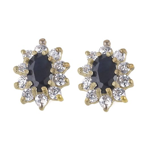 9ct Gold Sapphire Cubic Zirconia Cluster Stud Earrings - Product number 6117929
