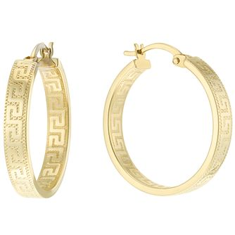 9ct Yellow Gold Greek Key Design 20mm Hoop Earrings - Product number 6117961