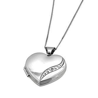 9ct White Gold Diamond Locket - Product number 6118844
