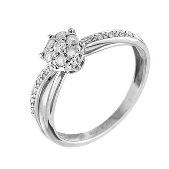 9ct White Gold Quarter Carat Diamond Cluster Ring - Product number 6119425