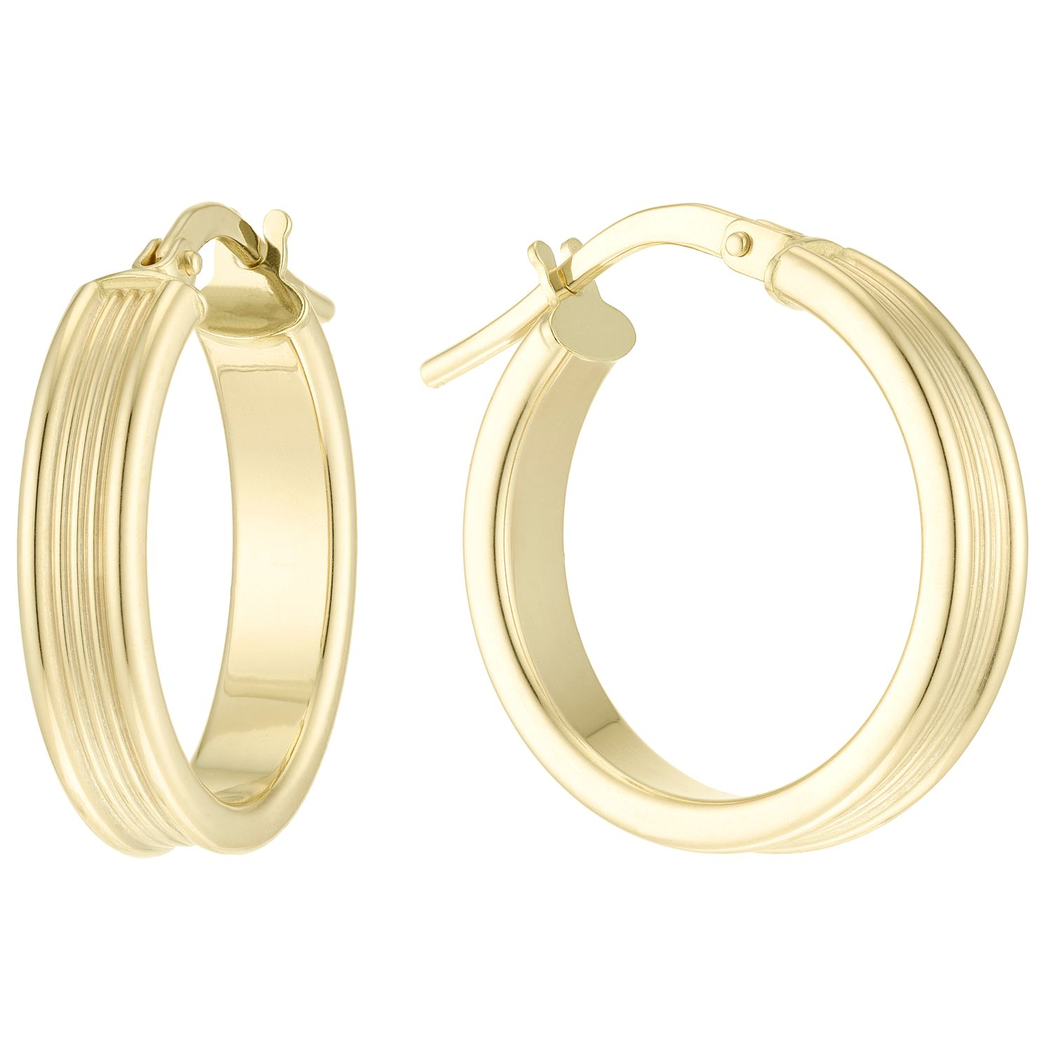 9ct Yellow Gold Ribbed 15mm Hoop Earrings - Product number 6129854