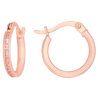 9ct Rose Gold Cubic Zirconia Channel Set Creole Earrings - Product number 6129870