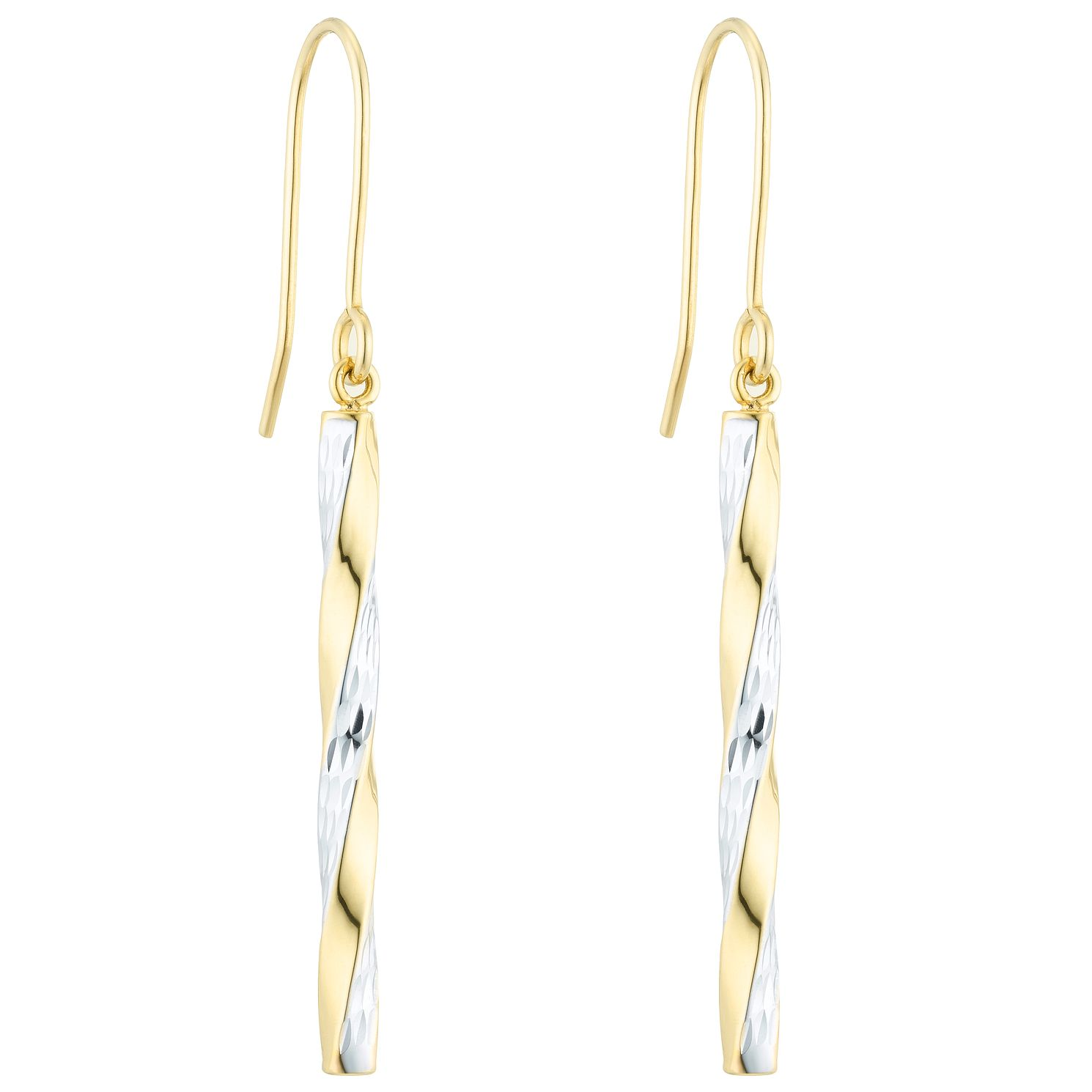 9ct Gold 2 Colour Diamond Cut Twist Drop Earrings - Product number 6129900