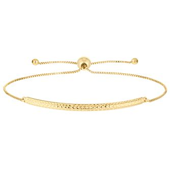 9ct Gold Diamond Cut Bar Adjustable Bracelet - Product number 6129994