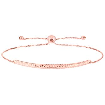 9ct Rose Gold Diamond Cut Bar Adjustable Bracelet - Product number 6130038
