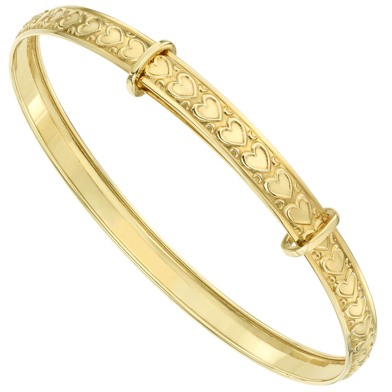 9ct Gold Heart Embossed Expander Bangle - Product number 6135803